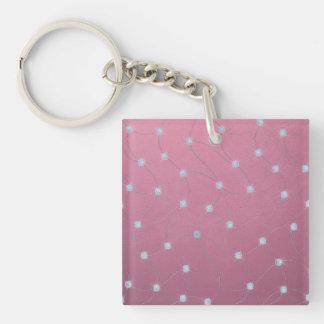 Blue diamond stitched on pink leather key ring
