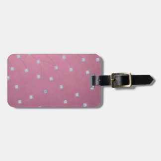 Blue diamond stitched on pink leather luggage tag