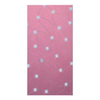 Blue diamond stitched on pink leather photo cards