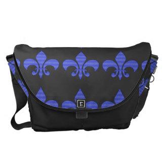 Blue Diamond Vintage Fleur de lis Courier Bag