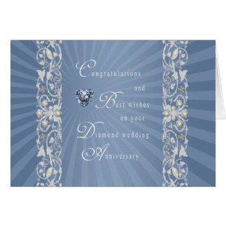 Blue Diamond Wedding Anniversary Card
