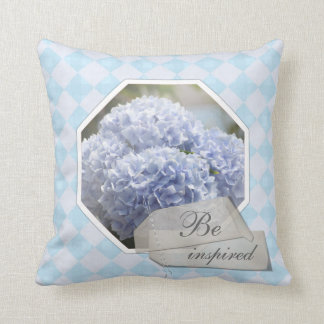 Blue Diamonds Hydrangea Flowers Cushion