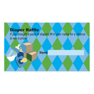 Blue Diaper Raffle Ticket Baby Shower Double-Sided Standard Business Cards (Pack Of 100)