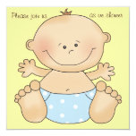 Blue Diapered Cutie Baby Shower Invitation