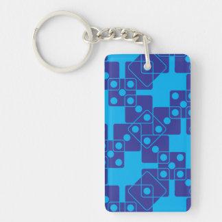 Blue Dice Double-Sided Rectangular Acrylic Keychain