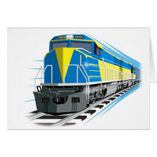 Blue Diesel Train Card for Kids