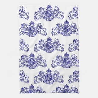 Blue Dieu et Mon Droit British Coat of Arms Tea Towel
