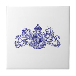 Blue Dieu et Mon Droit British Coat of Arms Tile