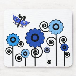 Blue digital art flowers & butterfly mousepad