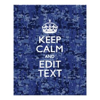 Blue digital camo KEEP CALM AND Edit Text 11.5 Cm X 14 Cm Flyer