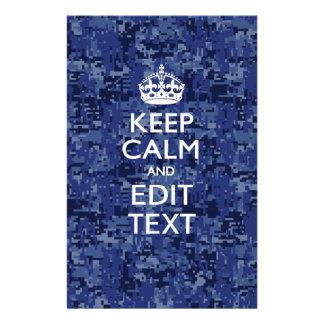 Blue digital camo KEEP CALM AND Edit Text 14 Cm X 21.5 Cm Flyer