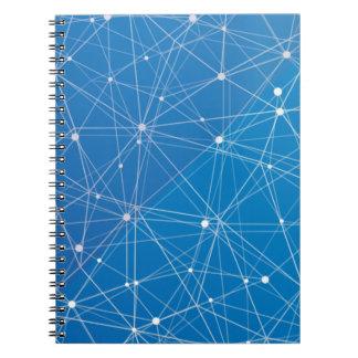 Blue digital network notebook