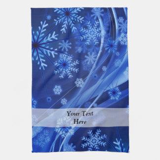 Blue digital snowflake pattern tea towel