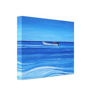 Blue Dinghy, Bahamas Stretched Canvas Prints