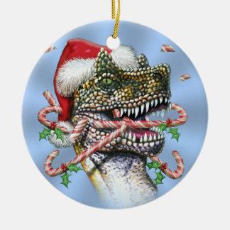 Blue Dino Christmas Christmas Ornament