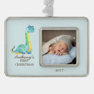 Blue Dinosaur Baby's 1st Christmas Photo Ornament