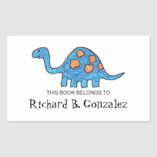 Blue Dinosaur Bookplates Rectangular Sticker
