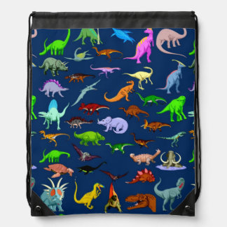 Blue Dinosaur Drawstring Bag