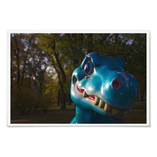 Blue Dinosaur Grinning Art Photo