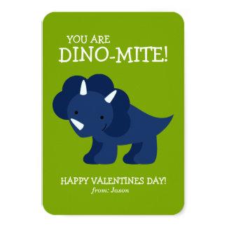 Blue Dinosaur Kids School Valentines 9 Cm X 13 Cm Invitation Card