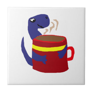 Blue Dinosaur Loves Coffee Ceramic Tile