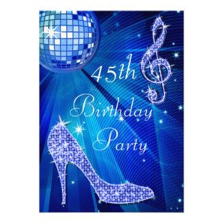 Blue Disco Ball and Heels 45th Birthday Custom Invites