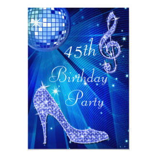 Blue Disco Ball and Heels 45th Birthday 5x7 Paper Invitation Card