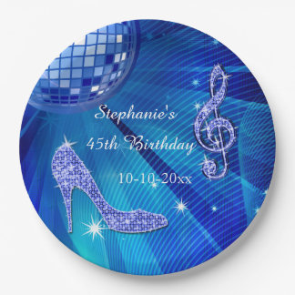 Blue Disco Ball and Heels 45th Birthday 9 Inch Paper Plate