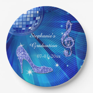 Blue Disco Ball and Heels Graduation 9 Inch Paper Plate