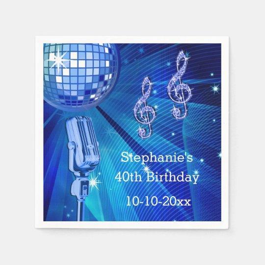 Blue Disco Ball and Retro Microphone 40th Birthday