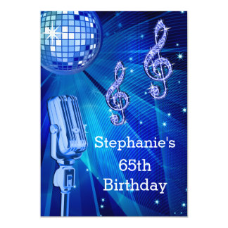 Blue Disco Ball and Retro Microphone 65th Birthday Card