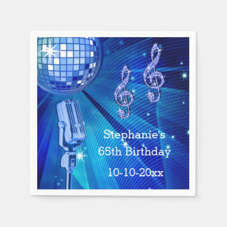 Blue Disco Ball and Retro Microphone 65th Birthday Disposable Napkins