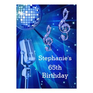 Blue Disco Ball and Retro Microphone 65th Birthday Personalized Invites