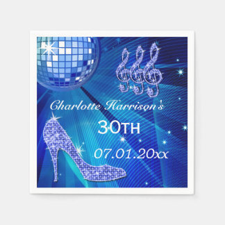 Blue Disco Ball and Sparkle Heels 30th Paper Napkin