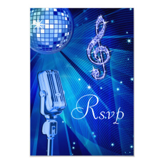 Blue Disco Ball & Retro Microphone RSVP Card