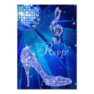Blue Disco Ball Sparkle Heels RSVP 9 Cm X 13 Cm Invitation Card