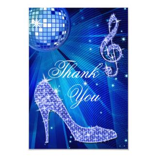 Blue Disco Ball Sparkle Heels Thank You 9 Cm X 13 Cm Invitation Card