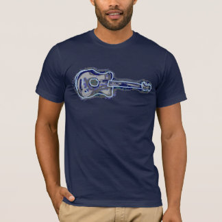blue distressed guitar image T-Shirt