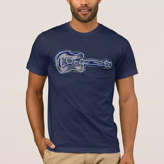 blue distressed guitar image T-Shirt
