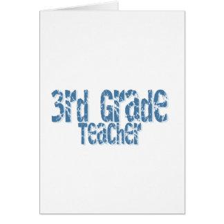 Blue Distressed Text 3rd Grade Teacher Greeting Card