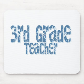 Blue Distressed Text 3rd Grade Teacher Mouse Pad