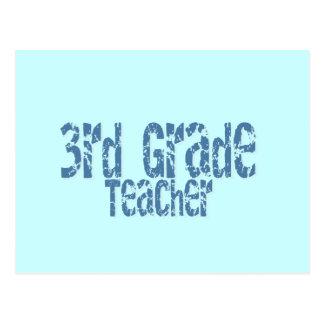 Blue Distressed Text 3rd Grade Teacher Postcard