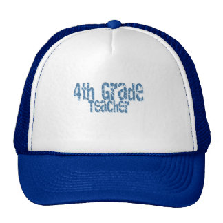 Blue Distressed Text 4th Grade Teacher Cap