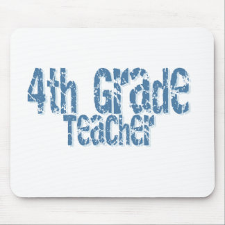 Blue Distressed Text 4th Grade Teacher Mouse Pads