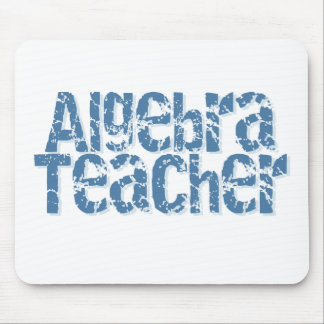 Blue Distressed Text Algebra Teacher Mouse Pad