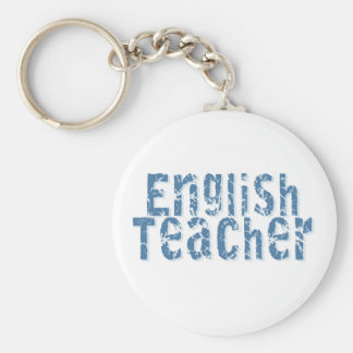 Blue Distressed Text English Teacher Basic Round Button Key Ring
