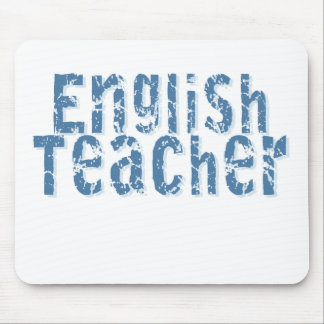 Blue Distressed Text English Teacher Mouse Pad