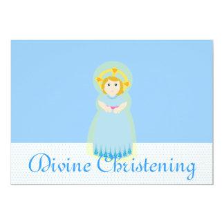 Blue Divine Christening Invitation-Customize 13 Cm X 18 Cm Invitation Card