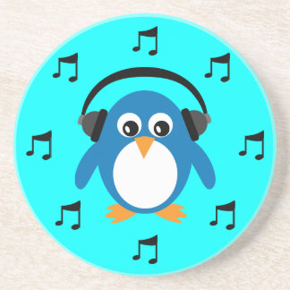 Blue DJ Penguin, Headphones & Musical Notes Coaster
