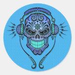 Blue DJ Sugar Skull Classic Round Sticker